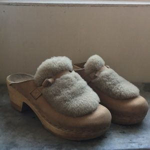 No. 6 shearling-trimmed clogs (37, good for 6.5-7)